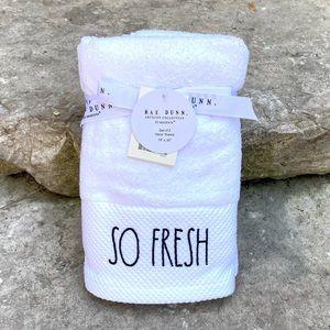 Rae Dunn SO FRESH/ SO CLEAN Set of 2 Hand Towels